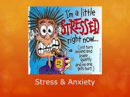 Stress & Anxiety. Causes Impacts on Performance Warning Signs: Physical, Mental, and Emotional Management Relaxation & Imagery.