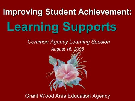 Improving Student Achievement: Learning Supports Common Agency Learning Session August 16, 2005 Grant Wood Area Education Agency.