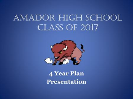 Amador High School Class of 2017 4 Year Plan Presentation.