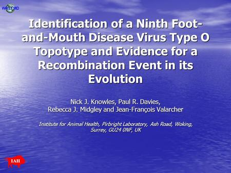 WRLFMD Identification of a Ninth Foot-and-Mouth Disease Virus Type O Topotype and Evidence for a Recombination Event in its Evolution Nick J. Knowles,