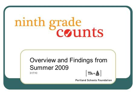 Overview and Findings from Summer 2009 3/17/10. A Powerful Network 773 students served in 22 distinct summer transition programs 6 school districts actively.