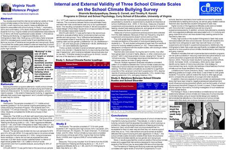 Abstract Two studies examined the internal and external validity of three school climate scales on the School Climate Bullying Survey (SCBS), a self–report.