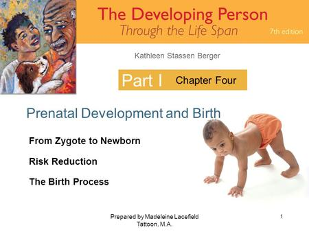Kathleen Stassen Berger Prepared by Madeleine Lacefield Tattoon, M.A. 1 Part I Prenatal Development and Birth Chapter Four From Zygote to Newborn Risk.