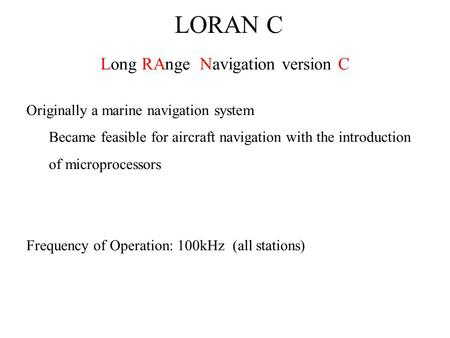 Long RAnge Navigation version C
