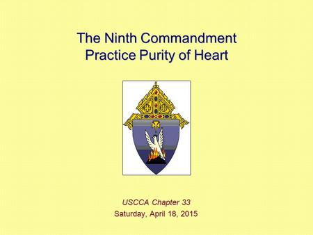 The Ninth Commandment Practice Purity of Heart USCCA Chapter 33 Saturday, April 18, 2015Saturday, April 18, 2015Saturday, April 18, 2015Saturday, April.