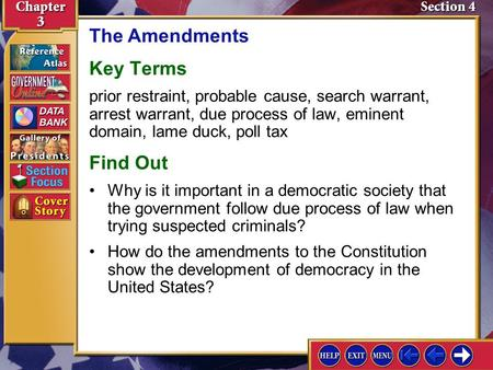 Section 4 Introduction-1 The Amendments Key Terms prior restraint, probable cause, search warrant, arrest warrant, due process of law, eminent domain,