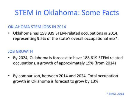 STEM in Oklahoma: Some Facts OKLAHOMA STEM JOBS IN 2014 Oklahoma has 158,939 STEM-related occupations in 2014, representing 9.5% of the state's overall.