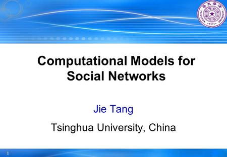 Computational Models for Social Networks