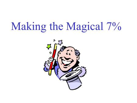Making the Magical 7%. Agenda Introductions – please tell me where your from and what you hope to get out of today's session Our Goal: 7% Federal Mandate.