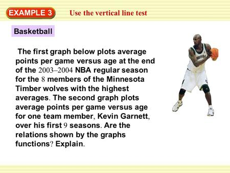 EXAMPLE 3 Use the vertical line test Basketball The first graph below plots average points per game versus age at the end of the 2003–2004 NBA regular.