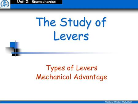 The Study of Levers Types of Levers Mechanical Advantage