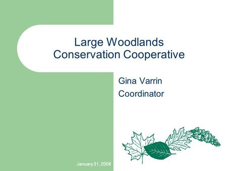 January 31, 2008 Large Woodlands Conservation Cooperative Gina Varrin Coordinator.