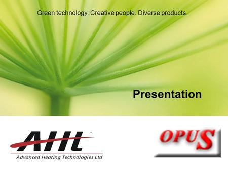 Green technology. Creative people. Diverse products. Presentation.