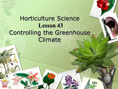 Horticulture Science Lesson 43 Controlling the Greenhouse Climate
