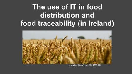 The use of IT in food distribution and food traceability (in Ireland) Jonnyboy, Wheat?, July 27th 2008, CC.