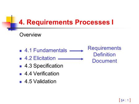 [ §4 : 1 ] 4. Requirements Processes I Overview 4.1Fundamentals 4.2Elicitation 4.3Specification 4.4Verification 4.5Validation Requirements Definition Document.