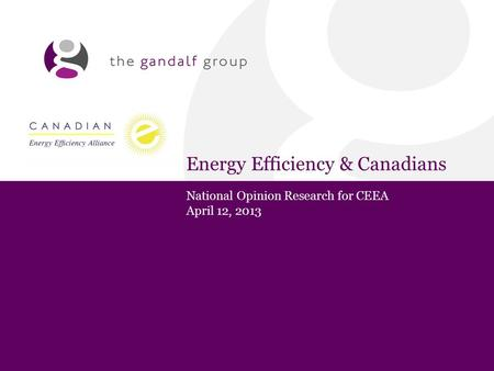Energy Efficiency & Canadians National Opinion Research for CEEA April 12, 2013.