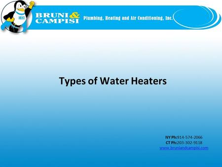 NY Ph:914-574-2066 CT Ph:203-302-9118 www.bruniandcampisi.com Types of Water Heaters.