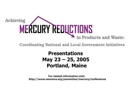 Presentations May 23 – 25, 2005 Portland, Maine For related information visit: