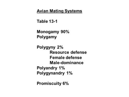 Avian Mating Systems Table 13-1 Monogamy 90% Polygamy Polygyny 2%
