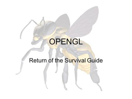 OPENGL Return of the Survival Guide. Buffers (0,0) OpenGL holds the buffers in a coordinate system such that the origin is the lower left corner.