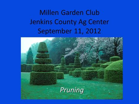 Millen Garden Club Jenkins County Ag Center September 11, 2012 Pruning.