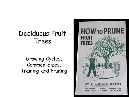 Deciduous Fruit Trees Growing Cycles, Common Sizes, Training and Pruning.