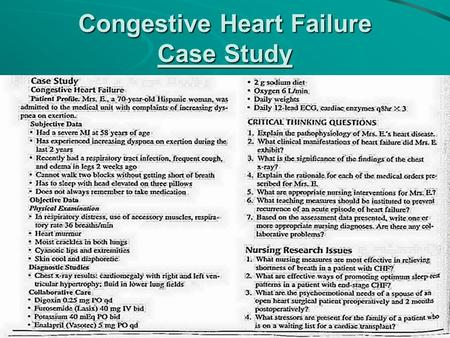 Congestive Heart Failure Case Study. Congestive Heart Failure.