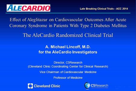 AML Effect of Aleglitazar on Cardiovascular Outcomes After Acute Coronary Syndrome in Patients With Type 2 Diabetes Mellitus The AleCardio Randomized Clinical.