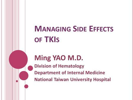 Managing Side Effects of TKIs