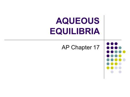AQUEOUS EQUILIBRIA AP Chapter 17.