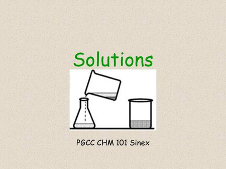 Solutions PGCC CHM 101 Sinex. solutionscolloidssuspensions < 1 nm> 100 nm -single atoms -small molecules -ions -polyatomic ions -aggregates of atoms,