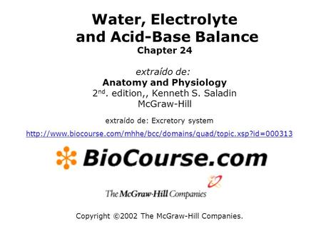 Water, Electrolyte and Acid-Base Balance Anatomy and Physiology