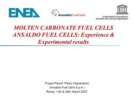 MOLTEN CARBONATE FUEL CELLS ANSALDO FUEL CELLS: Experience & Experimental results Filippo Parodi /Paolo Capobianco (Ansaldo Fuel Cells S.p.A.) Roma, 14th.