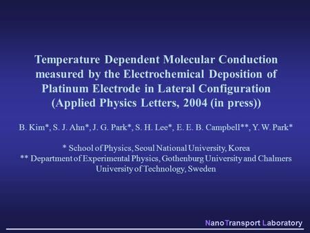 (Applied Physics Letters, 2004 (in press))