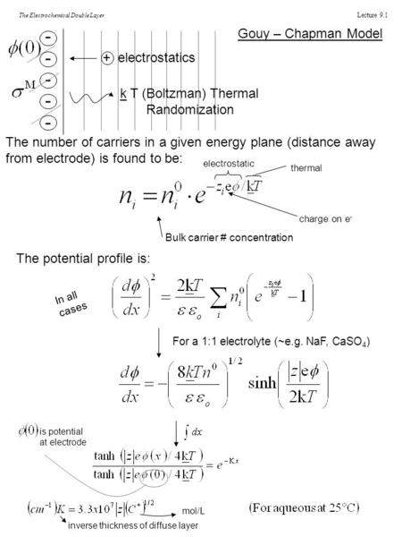 Lecture 9.1 The Electrochemical Double Layer Gouy – Chapman Model ---------- + electrostatics k T (Boltzman) Thermal Randomization The number of carriers.