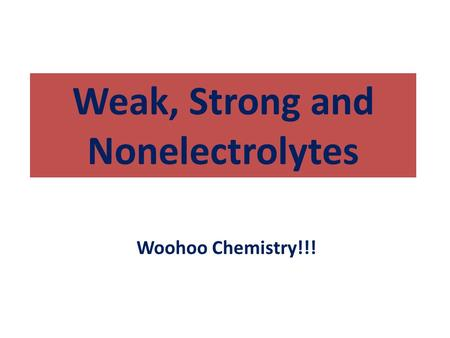 Weak, Strong and Nonelectrolytes Woohoo Chemistry!!!
