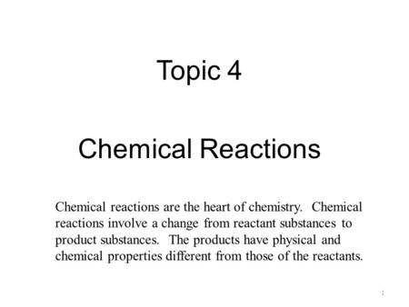 an analysis of the topic of the chemical reactions in the chemistry Chemical thermodynamics is the area of chemistry that addresses the amounts of heat and other forms of energy associated with chemical reactions thermodynamics is also a branch of physics, but in that realm, it is concerned purely with physical processes involving heat and energy.