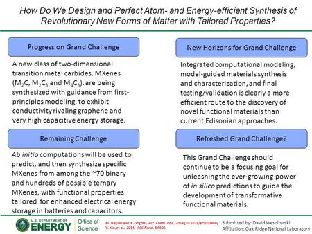 How Do We Design and Perfect Atom- and Energy-efficient Synthesis of Revolutionary New Forms of Matter with Tailored Properties? Progress on Grand Challenge.