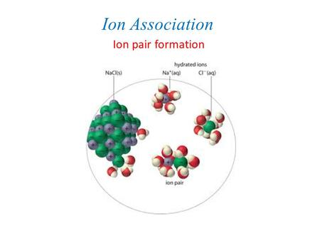 Ion Association Ion pair formation.