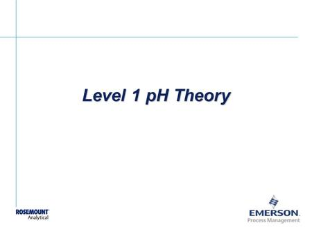 Level 1 pH Theory. Section 1 What is pH and How is it Measured?