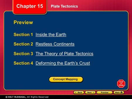 Chapter 15 Plate Tectonics Section 1 Inside the EarthInside the Earth Section 2 Restless ContinentsRestless Continents Section 3 The Theory of Plate TectonicsThe.