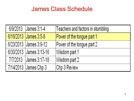 1 James Class Schedule. 2 James 3:5-8 Power of the tongue part 1 5 So also the tongue is a small part of the body, and yet it boasts of great things.