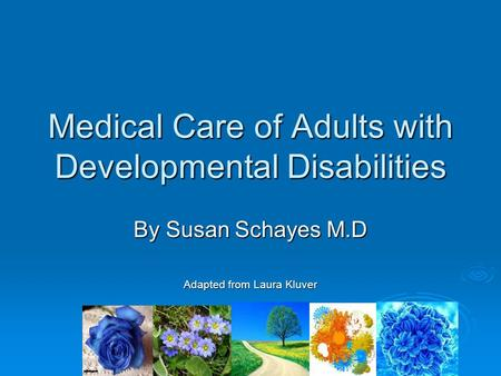 Medical Care of Adults with Developmental Disabilities By Susan Schayes M.D Adapted from Laura Kluver.
