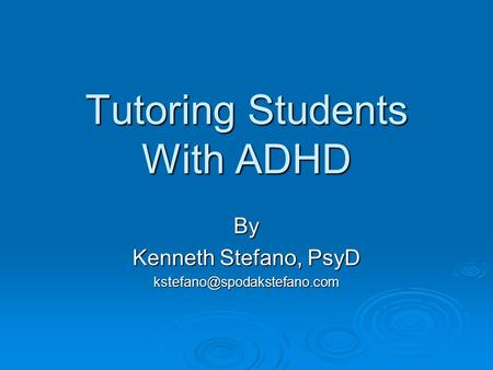 Tutoring Students With ADHD