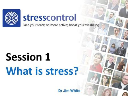Dr Jim White Session 1 What is stress?. No discussion of personal problems Each week teaches you new skills These skills are all pieces of the jigsaw.