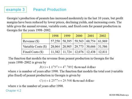 Example 3 Peanut Production Chapter 4.2 Georgia's production of peanuts has increased moderately in the last 10 years, but profit margins have been reduced.