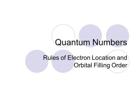 Rules of Electron Location and Orbital Filling Order
