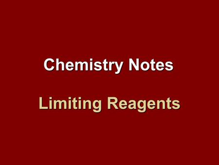 Limiting Reagents Chemistry Notes. What are limiting reagents? Up until now, we have assumed that all reactants are used up in a reaction. In actuality,