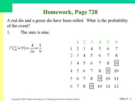 Copyright © 2007 Pearson Education, Inc. Publishing as Pearson Addison-Wesley Slide 9- 1 Homework, Page 728 A red die and a green die have been rolled.